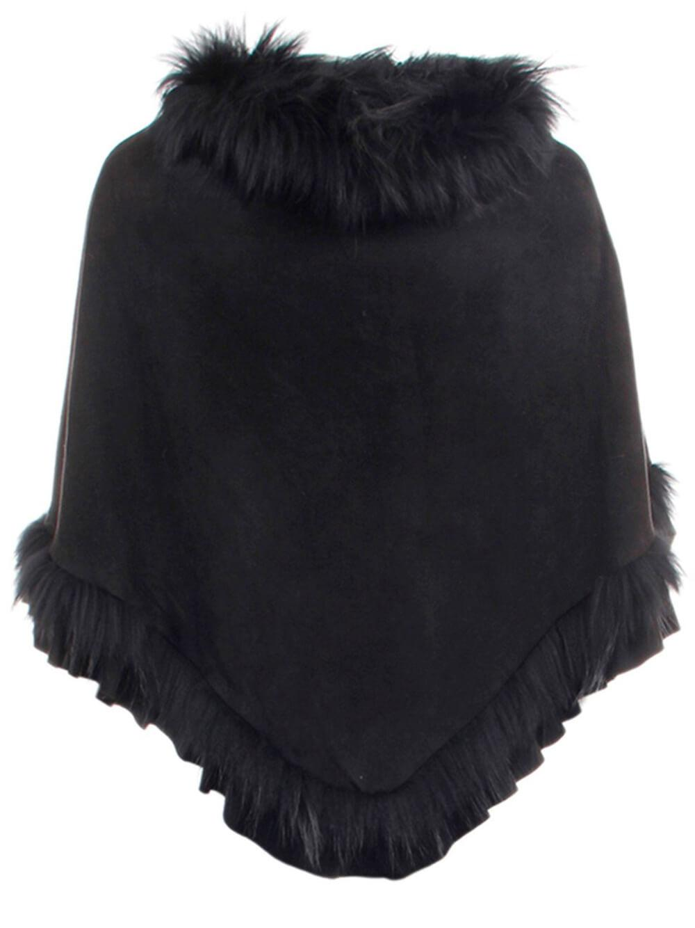 Faux Suede Poncho With Fur Trim Item # 71780-F21