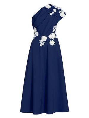 One Shoulder Cotton Embroidered Midi Dress