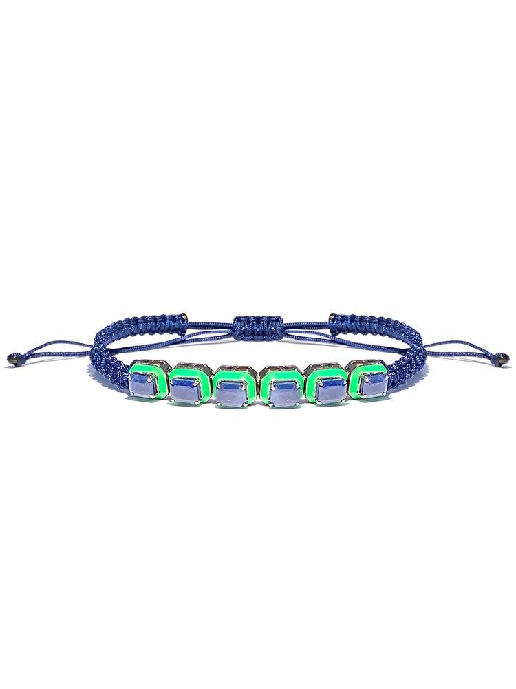 Sapphire Braided Enamel Bracelet Item # BR3576-C