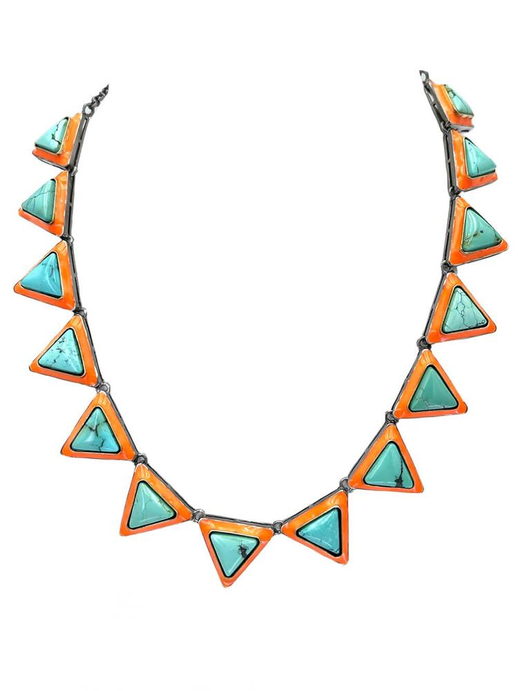 Turquoise And Enamel Necklace Item # N3993-C