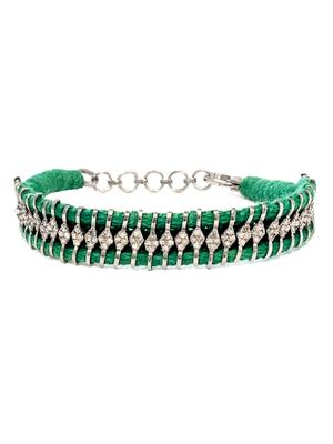 Woven Bracelet with Diamond Accents