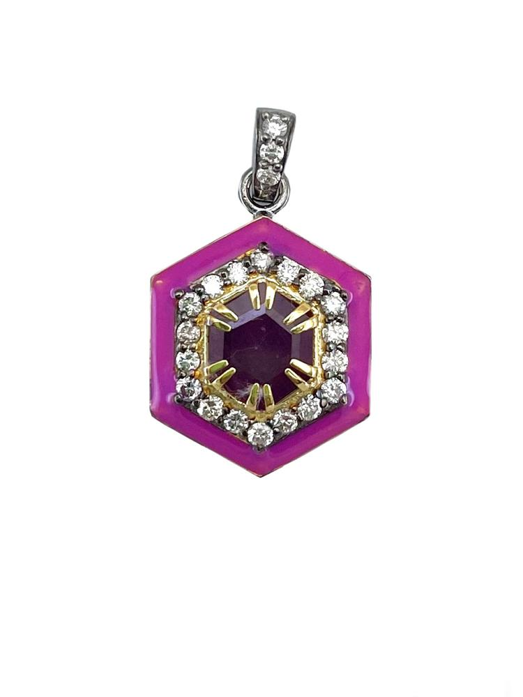 Gold Diamond And Enamel Pendant Item # PG3083-C