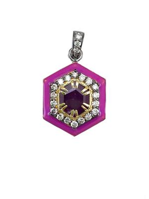 Gold Diamond and Enamel Pendant
