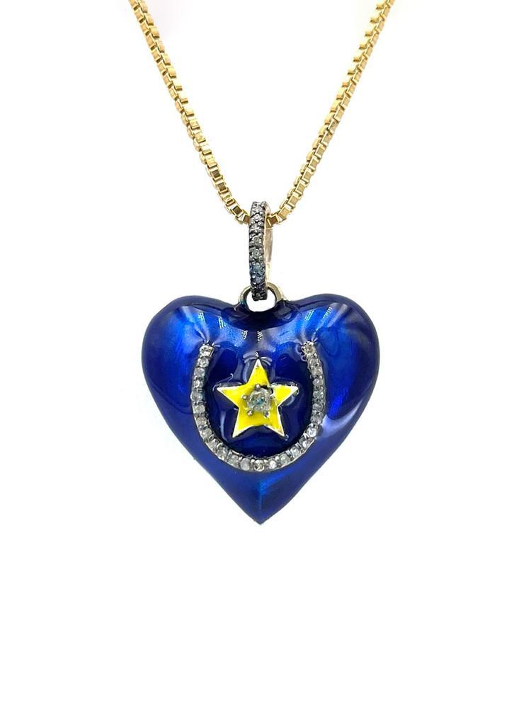 Lucky Heart Diamond And Enamel Pendant Item # OP3944-C