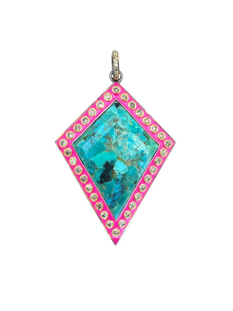 Turquoise And Diamond Enamel Pendant Item # OP3955-C