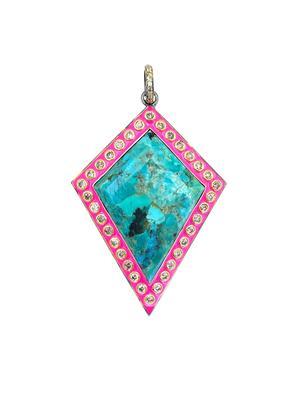 Turquoise and Diamond Enamel Pendant