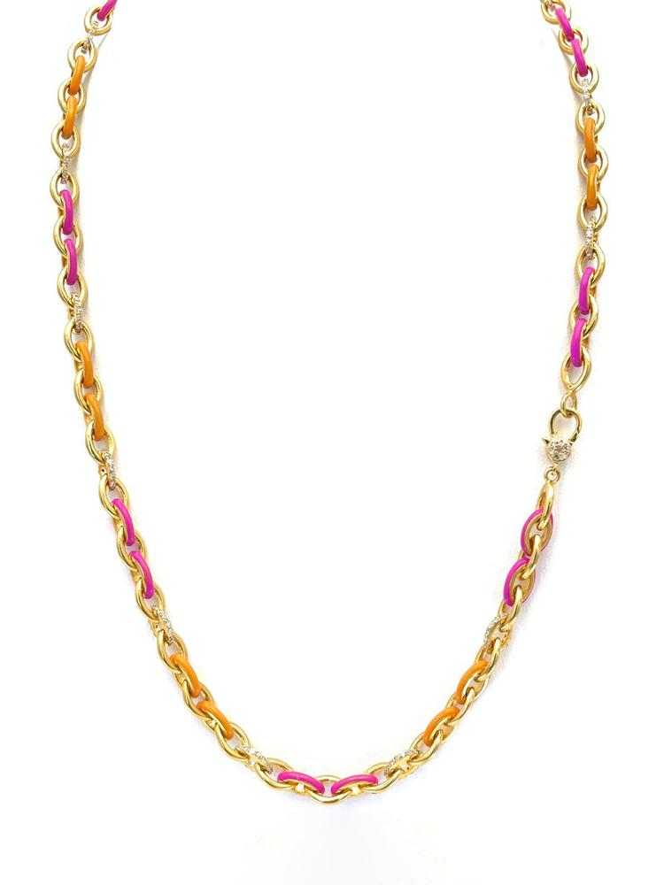 Diamond And Enamel Chain Necklace Item # N4022-C