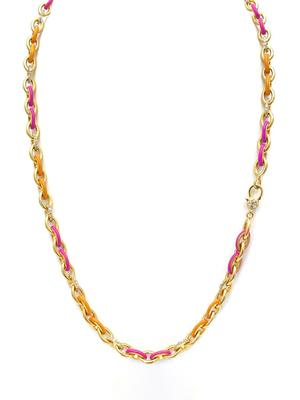 Diamond and Enamel Chain Necklace