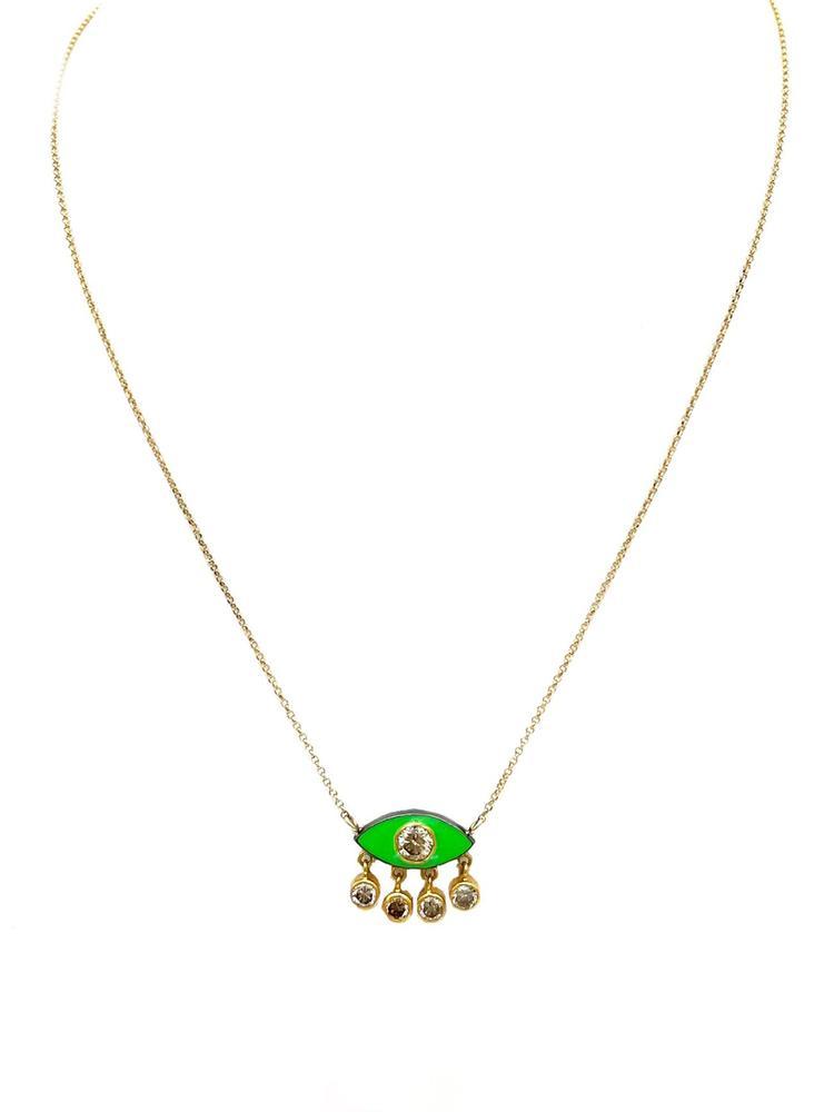 Diamond Gold And Enamel Eye Necklace Item # NG3312-C
