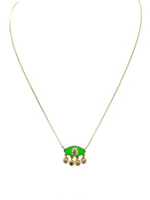 Diamond Gold and Enamel Eye Necklace