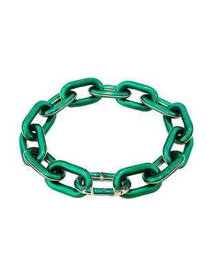 Emerald Enamel Chain Bracelet