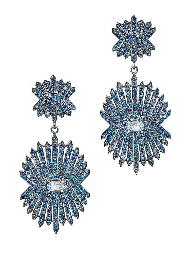 Silver And Sapphire Drop Earrings Item # OE3743-C