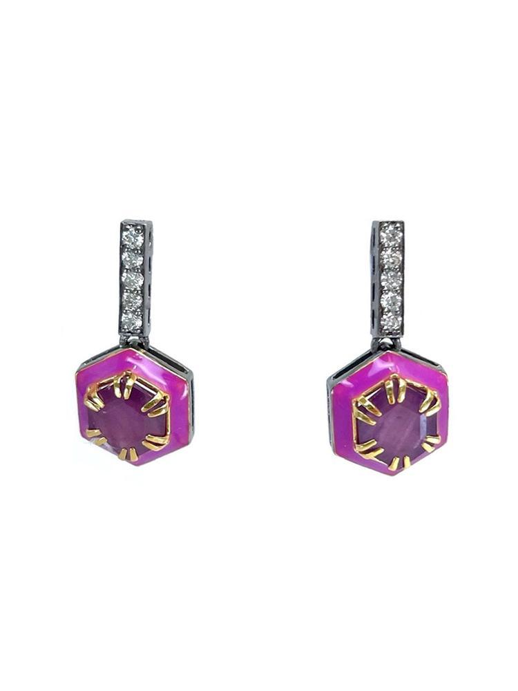 Diamond And Enamel Earrings Item # E3107-C