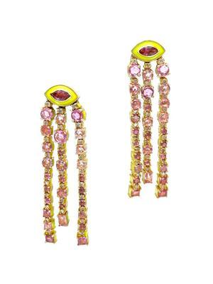 Gold Diamond Sapphire Enamel Earrings