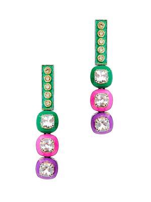 Gold Diamond Topaz Enamel Earrings