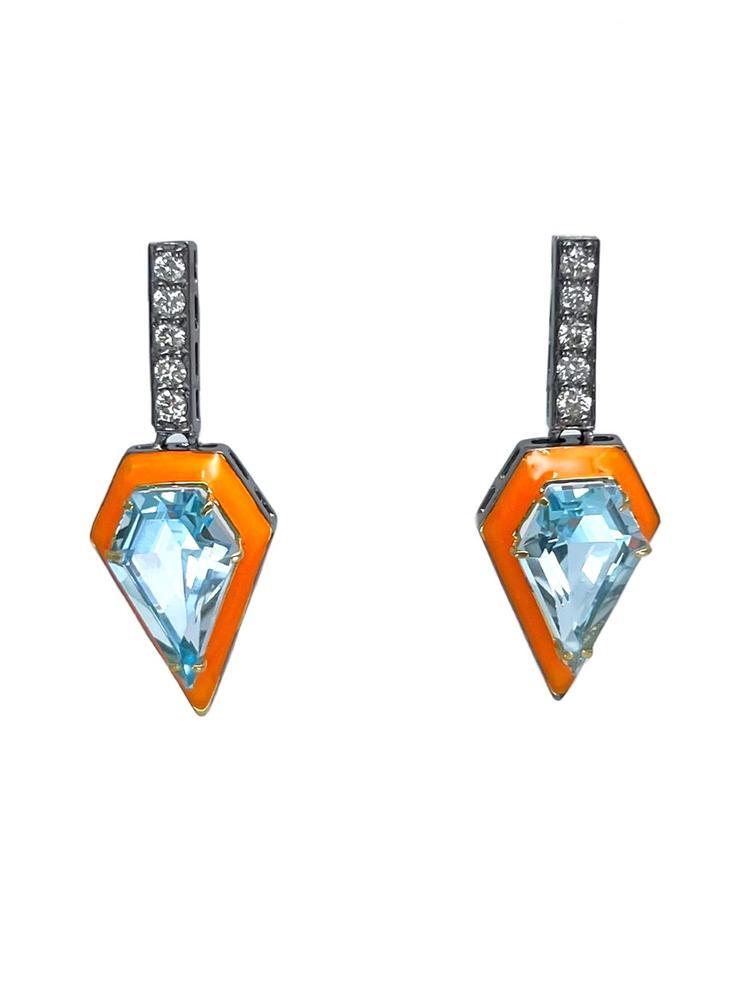 Diamond And Enamel Earrings Item # E3106-C