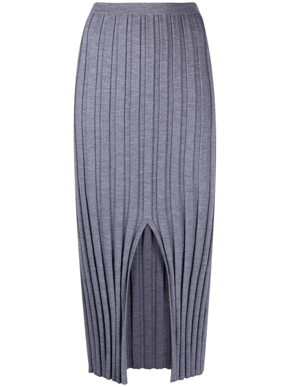 Wide Rib Knit Midi Skirt Item # L0711719