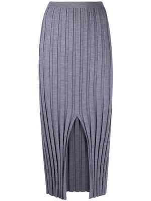 Wide Rib Knit Midi Skirt