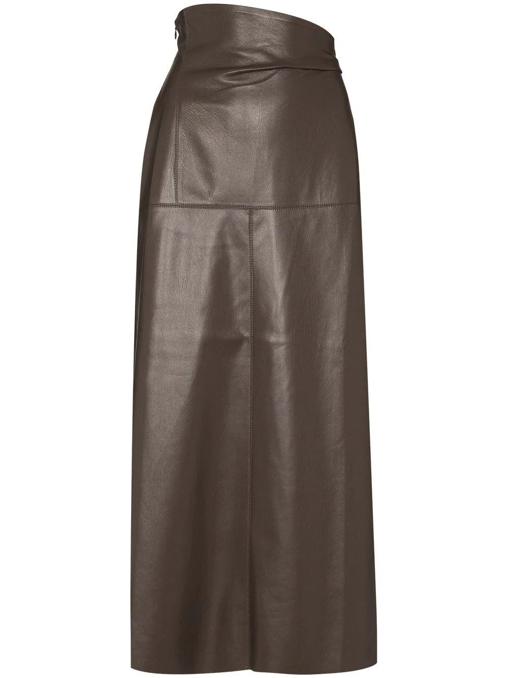 Melody Vegan Leather Aline Midi Skirt Item # NW21FWSK00476