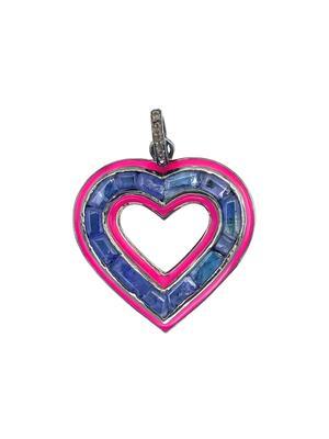 Silver Diamond Tanzanite and Enamel Heart Pendant