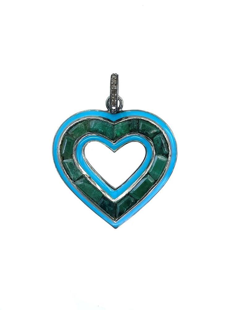 Silver Diamond Emerald And Enamel Heart Pendant Item # OP3976-C