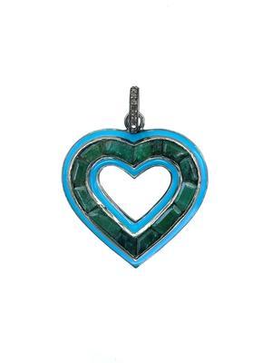 Silver Diamond Emerald and Enamel Heart Pendant
