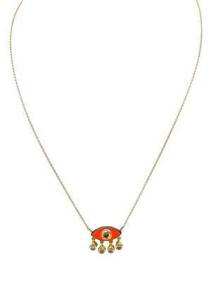 Gold Diamond and Enamel Eye Necklace