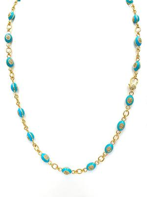 Gold Diamond and Enamel Necklace