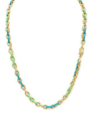 Gold Enamel and Diamond Necklace