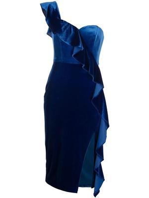 Ruffle Trim Velvet Dress