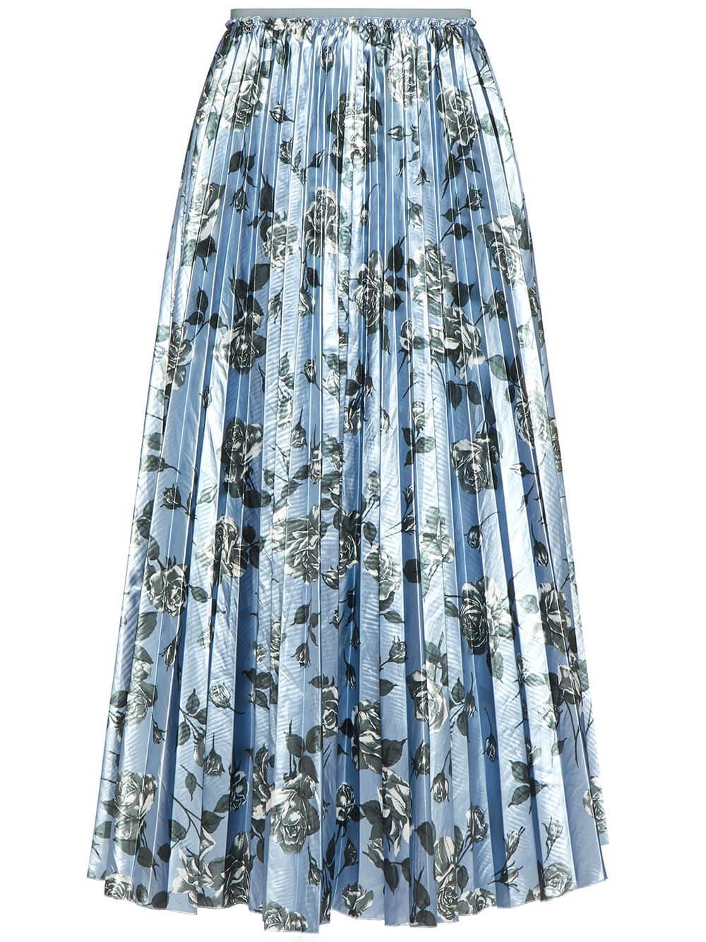 Floral Pleated Midi Skirt Item # WR0RAH2565K