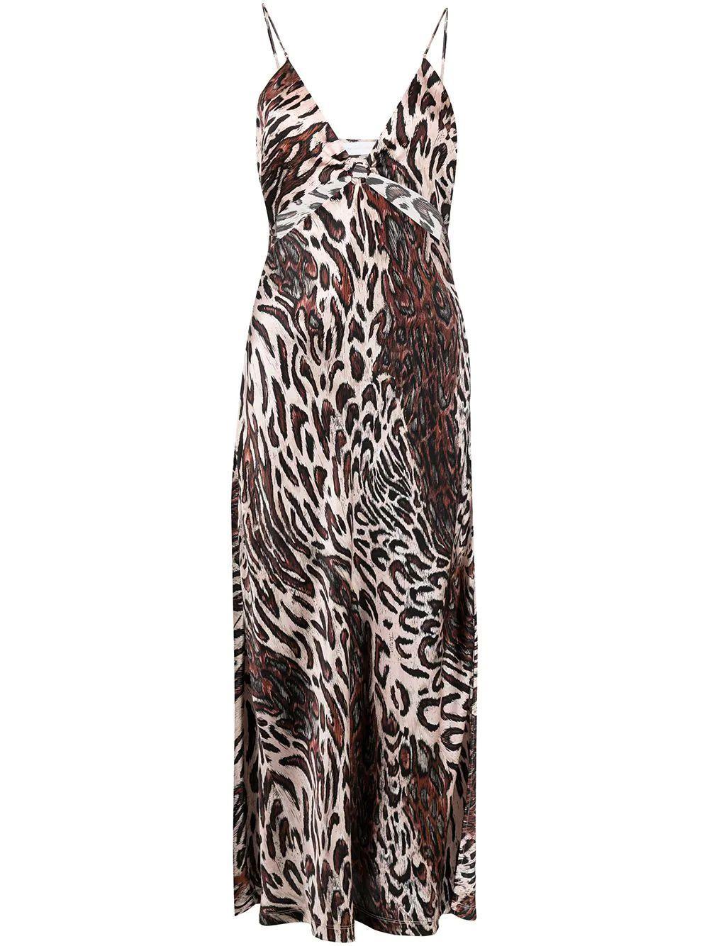 Champagne Abstract Leopard Print Dress Item # 621-1022-ST-PRINT