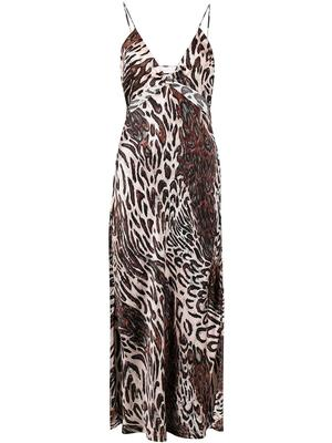 Champagne Abstract Leopard Print Dress
