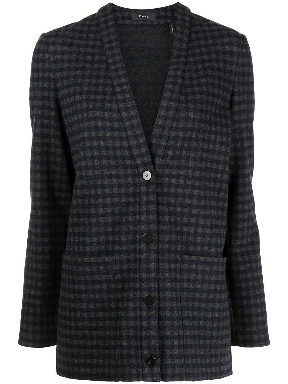 Checked Cardigan Blazer Item # L0825111