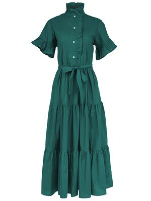 Victoria Tiered Ruffle Sleeve Shirt Dress