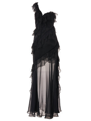 Crinkled Chiffon Cascade Gown