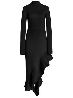 Taleah Asymmetrical Ruffle Hem Midi Dress