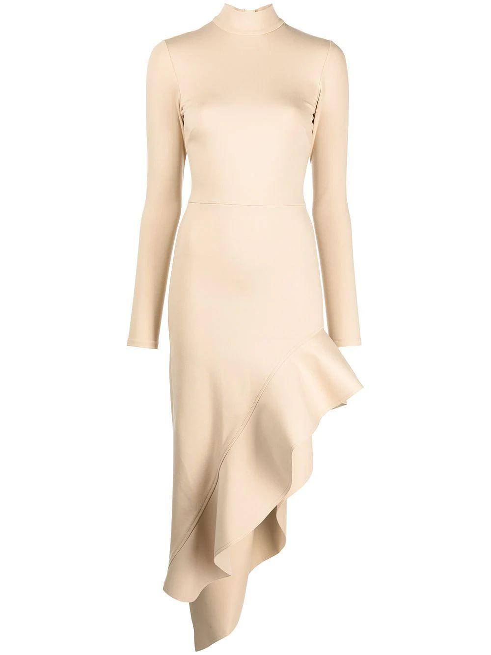 Taleah Asymmetrical Ruffle Hem Midi Dress Item # A3210425-7504