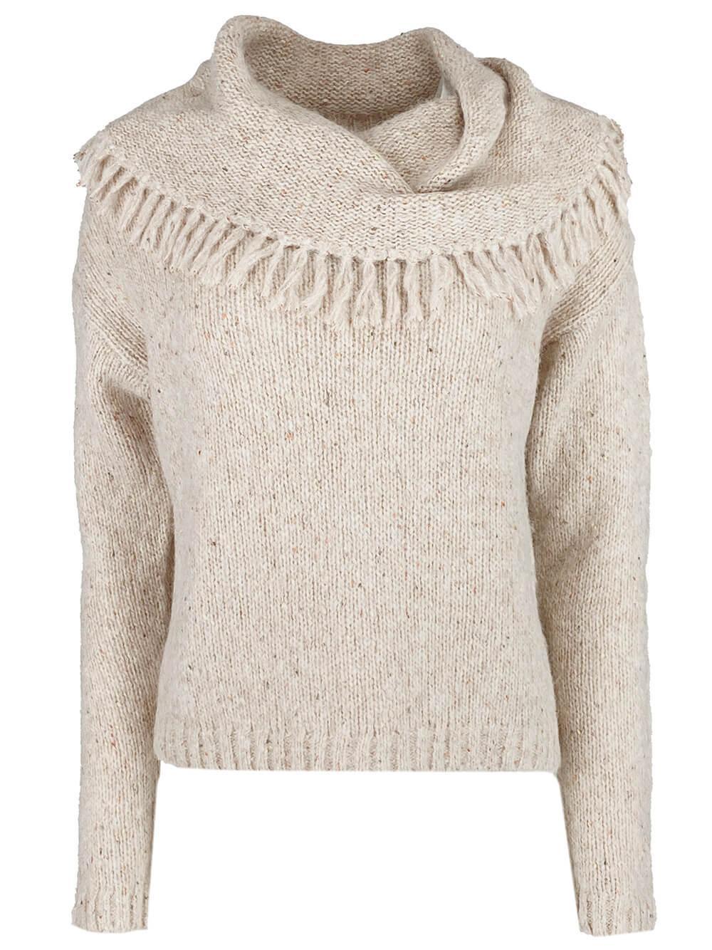 Lewes Fringe Off The Shoulder Sweater Item # FLP3669