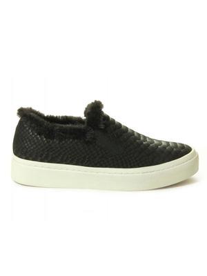 Ylona Snake and Shearling Slip-On Sneaker