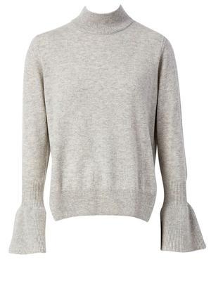 Ruffle Cuff Mock Neck Sweater
