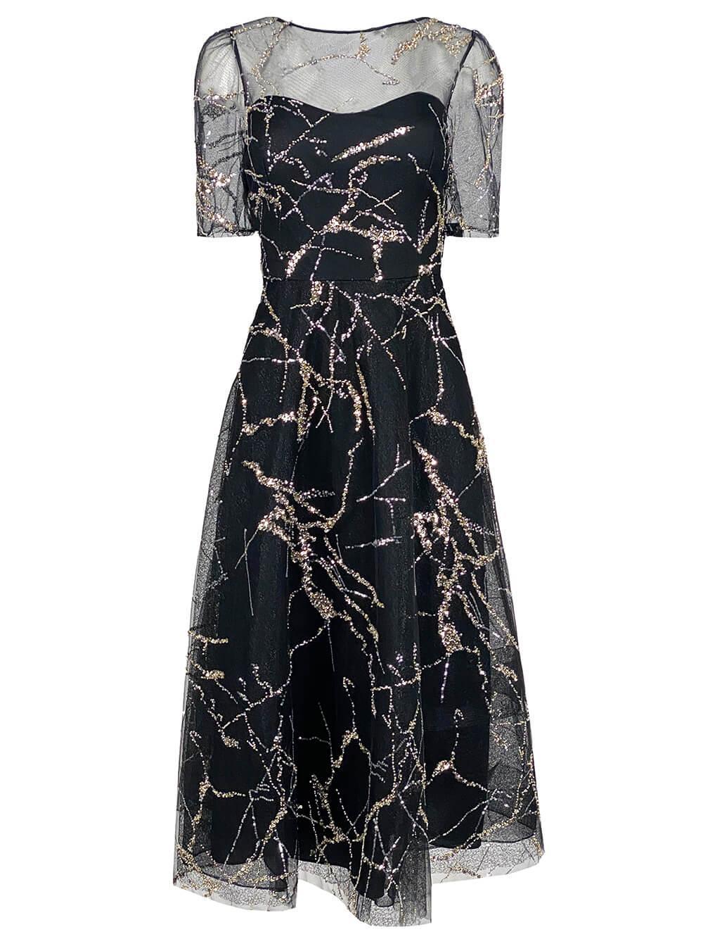 Glitter Mesh A- Line Dress Item # 217218