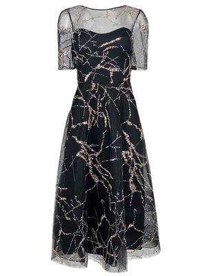 Glitter Mesh A-Line Dress