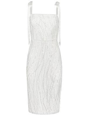 Bow Shoulder Shimmer Midi Dress