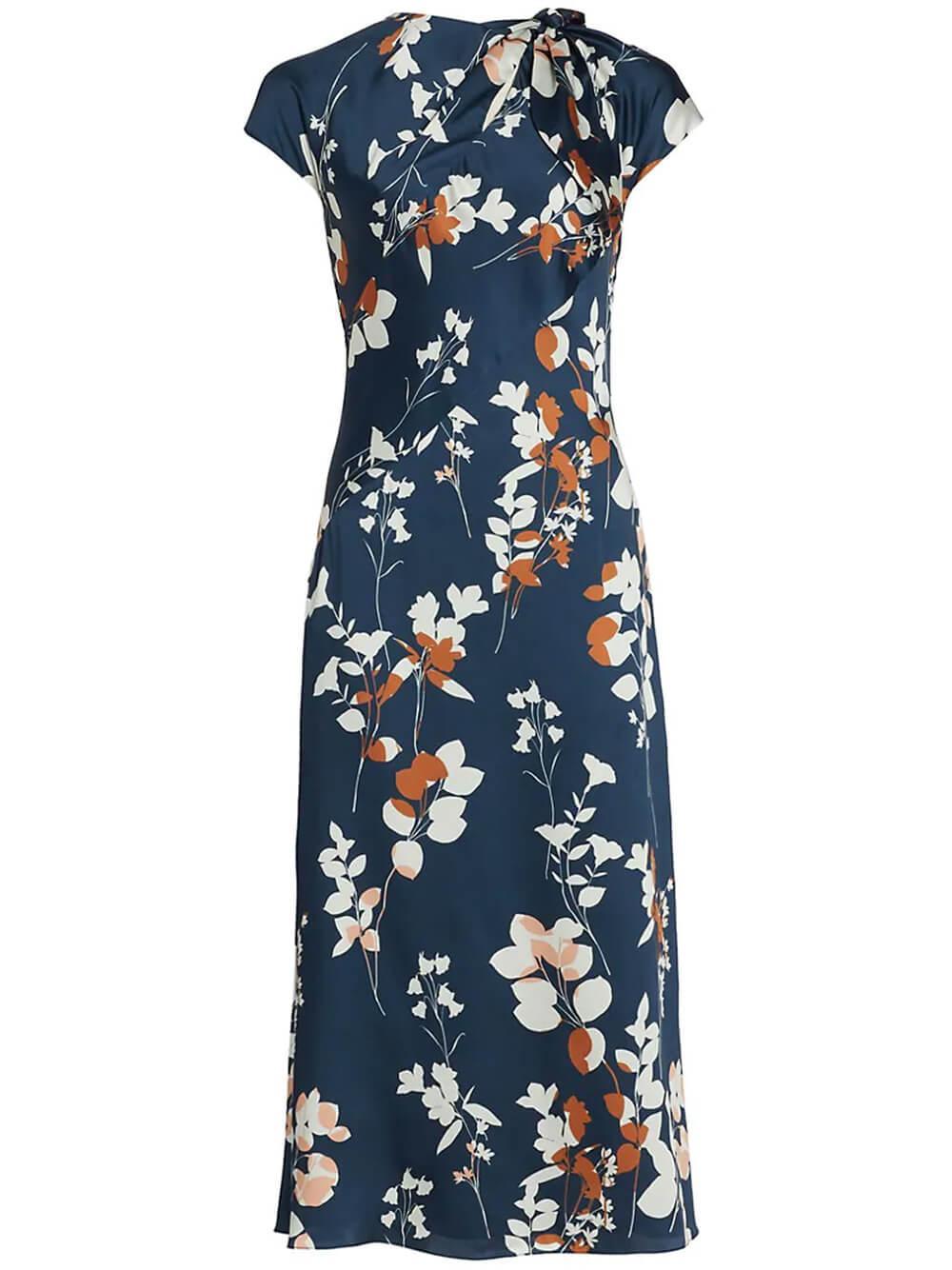Satin Floral Midi Dress Item # 4415616
