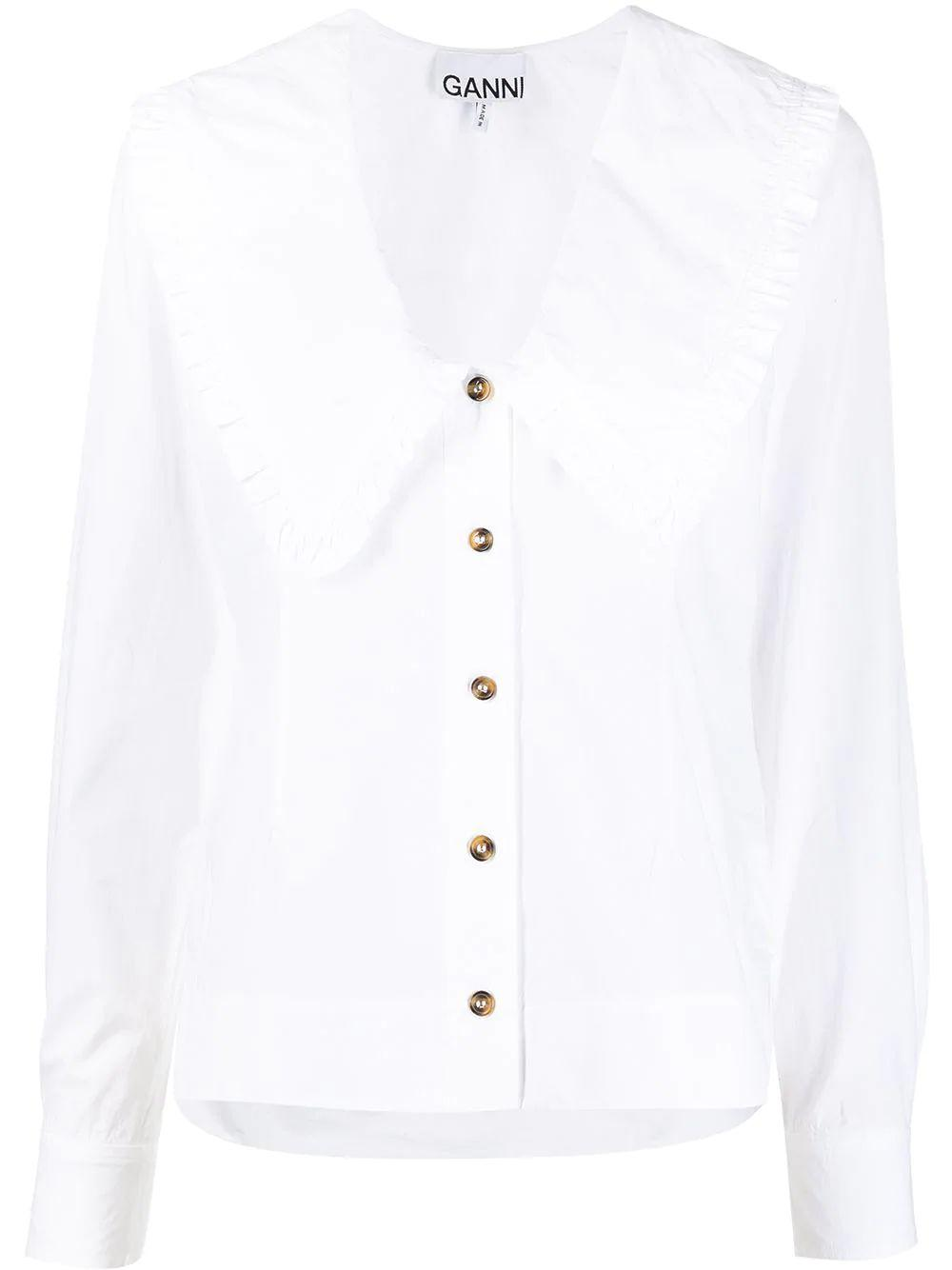 Cotton Poplin Large Collar Blouse Item # F5778