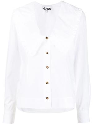 Cotton Poplin Large Collar Blouse