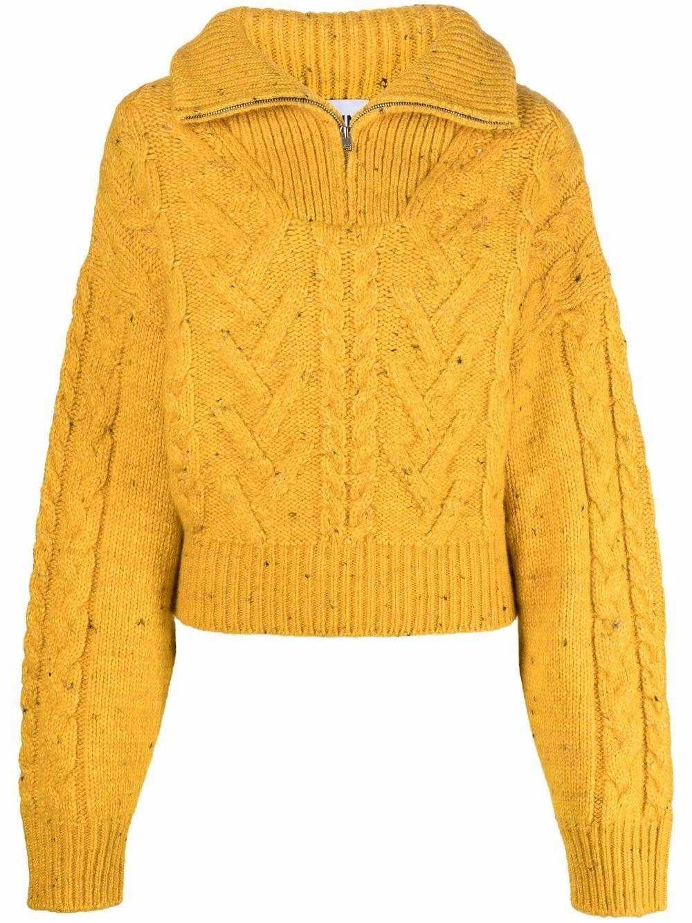 Cable Knit Zip Up Pullover Sweater Item # K1596