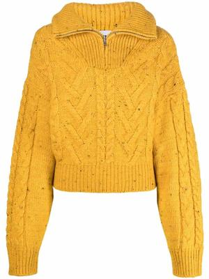 Cable Knit Zip Up Pullover Sweater