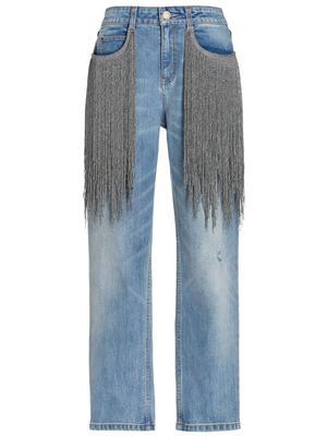 Straight Leg Jean with Metal Fringe Detail